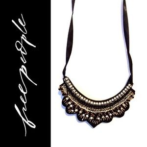 Free People Beaded Embroidered Bib Necklace